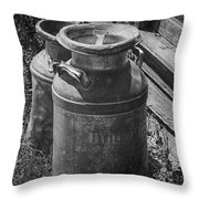 Black And White Old Prairie Homestead Vintage Creamery Cans Near The Badlands Throw Pillow