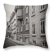 Black And White Old Style Photo Of Old Quebec City Throw Pillow