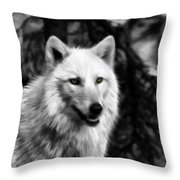 Black And White Painted Wolf Throw Pillow