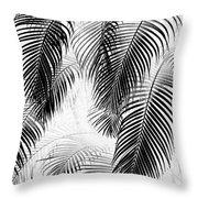 Black And White Palm Fronds Throw Pillow by Karon Melillo DeVega