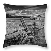 Black And White Photo Of A Wood Fence At The John Moulton Farm Throw Pillow