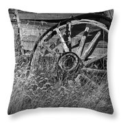 Black And White Photo Of An Old Broken Wheel Of A Farm Wagon Throw Pillow