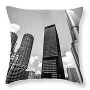 Black And White Photo Of Chicago Skyscrapers Throw Pillow