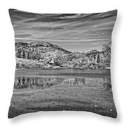 Black And White Photo Of Long Pond Acadia National Park Maine Throw Pillow