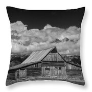 Black And White Photo Of The T.a. Moulton Barn In The Grand Tetons Throw Pillow
