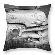 Black And White Photograph A Vintage Junk Chevy Pickup Truck Throw Pillow