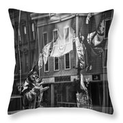 Black And White Photograph Of A Mannequin In Lingerie In Storefront Window Display  Throw Pillow