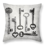 Black And White Photograph Of Vintage Skeleton Keys For Rustic Home Decor Throw Pillow