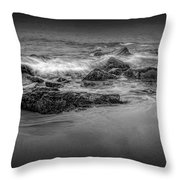 Black And White Photograph Of Waves Crashing On The Shore At Sand Beach Throw Pillow