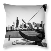 Black And White Picture Of Adler Planetarium Sundial Throw Pillow by Paul Velgos