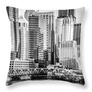 Black And White Picture Of Chicago At Lake Street Bridge Throw Pillow