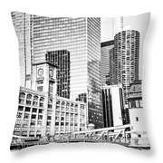 Black And White Picture Of Chicago At Lasalle Bridge Throw Pillow