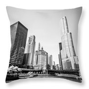 Black And White Picture Of Downtown Chicago Throw Pillow