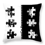Black And White Puzzles Digital Painting Throw Pillow