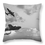 Black And White Retro Image Of Batttle Of Britain Ww2 Airplanes Throw Pillow by Matthew Gibson