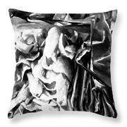 Black And White Ruffles Throw Pillow