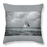 Black And White Sail Boat Throw Pillow
