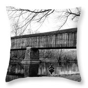 Black And White Schofield Ford Covered Bridge Throw Pillow