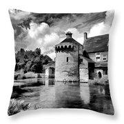Scotney Castle In Mono Throw Pillow