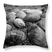 Black And White Seashells Throw Pillow