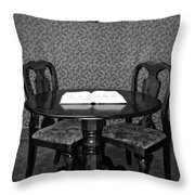 Black And White Sitting Table Throw Pillow