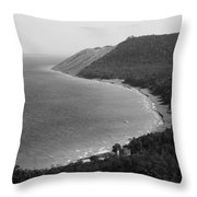 Black And White Sleeping Bear Dunes Throw Pillow