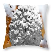 Black And White Snow Leaf Throw Pillow