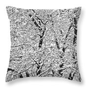 Black And White Snowy Tree Branches Abstract Six Throw Pillow