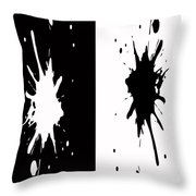 Black And White Splashes Digital Painting Throw Pillow