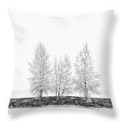 Black And White Square Tree  Throw Pillow