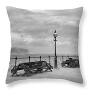 Black And White Swanage Pier Throw Pillow