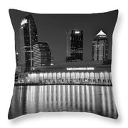 Black And White Tampa Night Throw Pillow