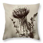 Black And White Thistle Throw Pillow