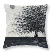 Black And White Snow Cold Winter Tree Throw Pillow