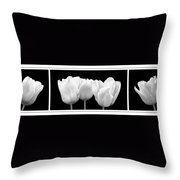 Black And White Tulip Triptych Throw Pillow