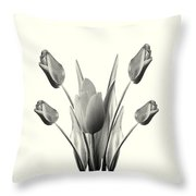 Black And White Tulips Drawing Throw Pillow