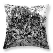 Black And White Uprooted Tree Throw Pillow