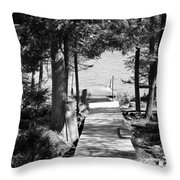 Black And White Walkway Throw Pillow