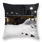 Black And White With A Splash Of River Throw Pillow