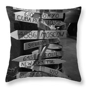 Black And White World Directions Throw Pillow