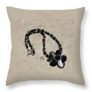 Black Banded Onyx Wire Wrapped Flower Pendant Necklace 3634 Throw Pillow