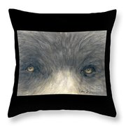 Black Bear Eyes Wildlife Animal Art Throw Pillow
