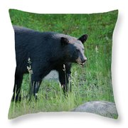Black Bear Female Throw Pillow