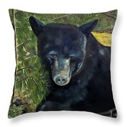 Bear Painting - Scruffy - Profile Cropped Throw Pillow