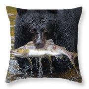 Black Bear With Salmon Throw Pillow