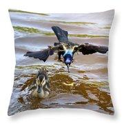 Black Bird On The Water Throw Pillow