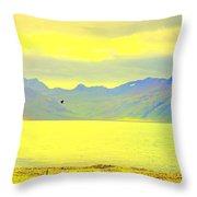 A Black Bird Is Crossing The Golden Landscape Throw Pillow