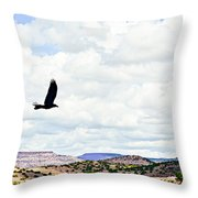 Black Bird In Flight Throw Pillow