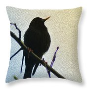 Black Bird Perch Throw Pillow