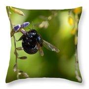 Black Bumblebee Throw Pillow